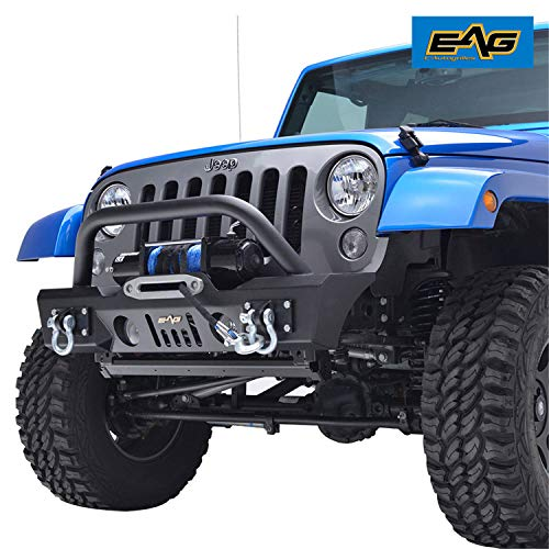 Type Straight Shackles (EAG Front Bumper Stubby with Fog Light Hole and Winch Plate for 07-18 Jeep Wrangler JK Offroad)