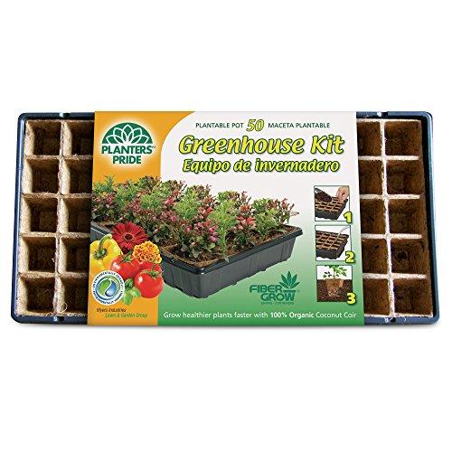 Planters Pride RZG50170 Fiber Grow Coconut Greenhouse Starter Kit, 50 Pots -