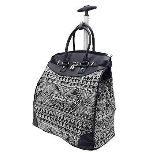 (Tribal Geometric Aztec Motif Carry On Rolling Foldable Laptop Tote, Softsided Wild Exotic Geo Zigzag Stripes Theme, Multi Compartment, Fashionable, Checkpoint Friendly Soft Travel Bag, Grey, Size)