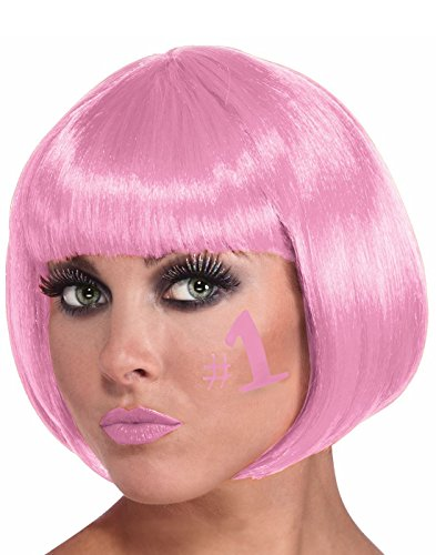 Adult Womens Neon Short Bob Drag Queen Hair Sassy w Bangs Wig Costume Accessory