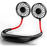 Lazy Neck Hanging Style Dual Cooling Fan - Portable with USB Rechargeable Neckband Battery Operated Quiet for Office Room - Sports Running Fitness Personal Fan (Black)