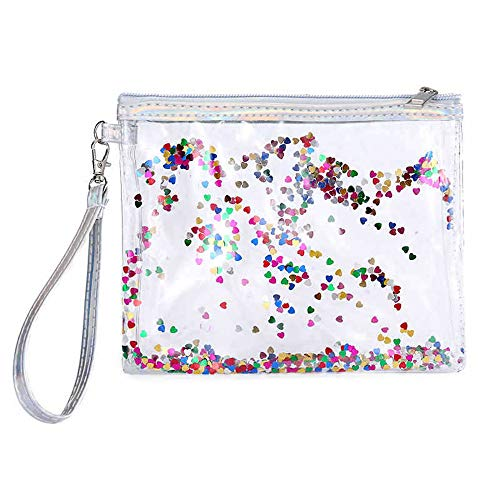 Crystal Clear Cosmetic Bag Travel Toiletry Bag with Zipper Make-up Pouch Handle Straps for Women Portable Packing Organizer Storage Pencil Bags Sequins Quicksand Luggage Pouch (Multicolor)
