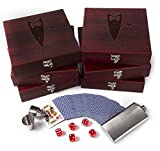 Set of 6 - Groomsmen Gifts, Personalized Flask Gift Set|Rosewood Finish Gift Box, Flask, Dice, Playing Card Deck + Funnel Set -4