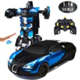 RC Cars Robot for Kids Remote Control Car Transformers Gesture Sensing Toys with One-Button Deformation and 360°Rotating Drifting 1:14 Scale , Aluminum Alloy Best Gift for Boys and Girls (Blue)