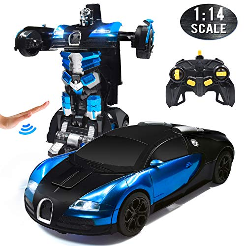 Trimnpy RC Cars Robot for Kids Remote Control Car Transformrobot Gesture Sensing Toys with One-Button Deformation and 360°Rotating Drifting 1:14 Scale , Best Gift for Boys and Girls(Blue) (Remote Controller Car)