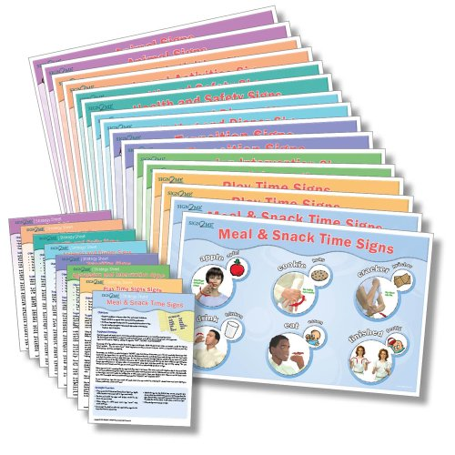 Sign2me Asl Reminder Series   16 Pc Laminated Placemat Posters   English  German And American Sign Language  English And German Edition