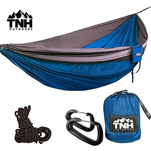 TNH Outdoors Double & Single Camping Hammocks - Lightweight Nylon Portable Hammock, Best Parachute Hammock For Backpacking, Camping, Traveling With FREE Wiregate Carabiner - Indoor Single