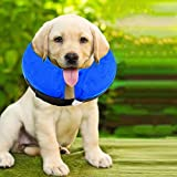 E-KOMG Protective Inflatable Collar for Dogs,Pet Recovery Collar,Cone for Cat After Surgery,Does Not Block Vision E-Collar (Medium)