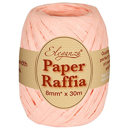 Eleganza 8 mm x 30 m Paper Raffia for Variety of Craft Projects and Gift Wrapping, No.05 Peach Oaktree UK 630024