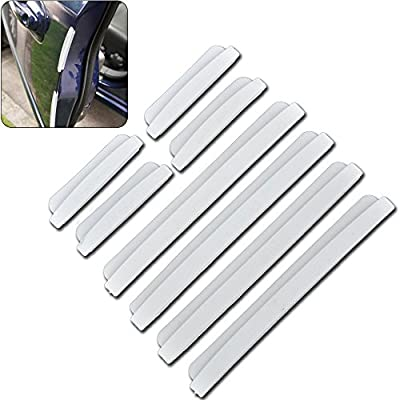 RGTOPONE Auto Door Edge Protector Transparent Silicone Car Bumper Strips Guards Anti-Scratch Molding Protection Sticker, Pack of 8