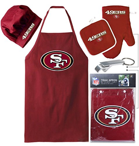 Gear 49ers - San Francisco 49ers (Apron & Oven Mitt Pot Holder) Bonus Bottle Beer Opener, Barbeque Apron and Chef's Hat , NFL Licensed