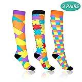 Compression Socks for Men & Women - Wangbo (15-20 mmHg) Graduated Compression Stockings for Medical, Athletics, Running, Nurses, Pregnancy, Edema, Diabetic, Varicose Veins, Shin Splints (3 Pairs)