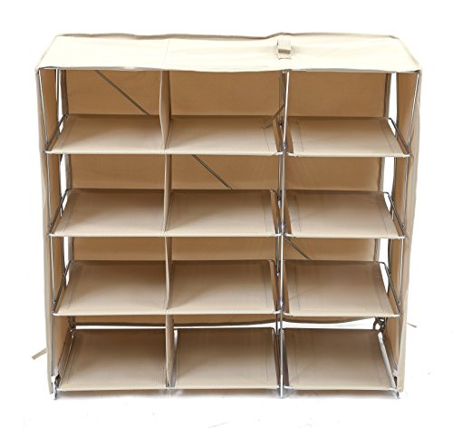Origami R-FSR-12-K 12-Shelf Foldable Shoe Rack, Fabric Ba...