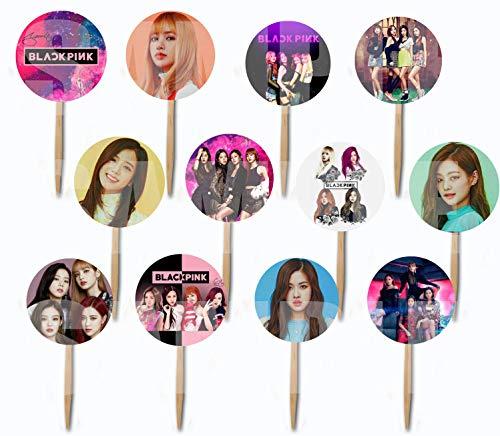 Black Pink Cupcake Picks Cake Toppers (12 pcs) K-Pop South Korean Girl Band Girl Band Jisoo Jennie Rosé Lisa