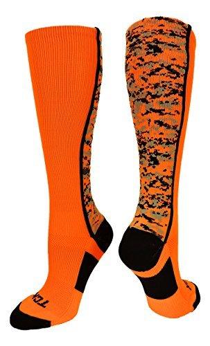 TCK Sports Digital Camo Over The Calf Socks (Neon Orange/Black, Large)