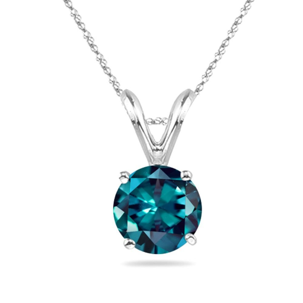 Round Russian Lab Created Alexandrite Solitaire Pendant 4mm-8mm Sizes in 14K White Gold