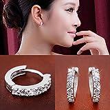 Fashion Women Jewelry Crystal 925 Silver Hoop Dangle Earring Stud Wedding