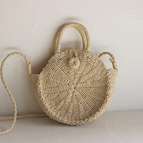 Crossbody Weave Purse Summer Shoulder Women Round Straw Handbags Beige Bag Bag Beach and dtAHWq