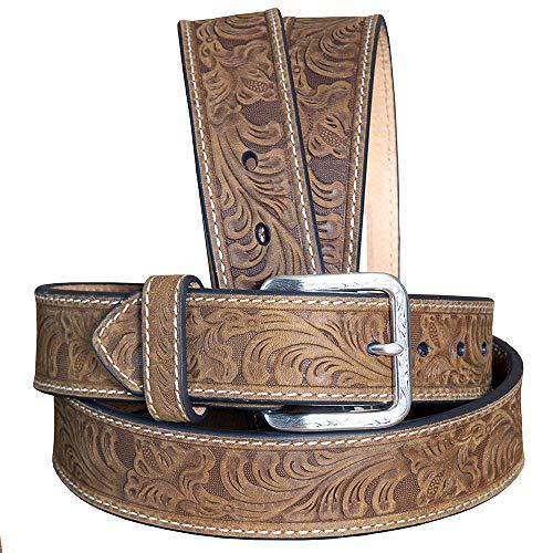 Nocona Belt Co. Men's Floral Embose, Medium Brown, 40 (Nocona Brown Belt)