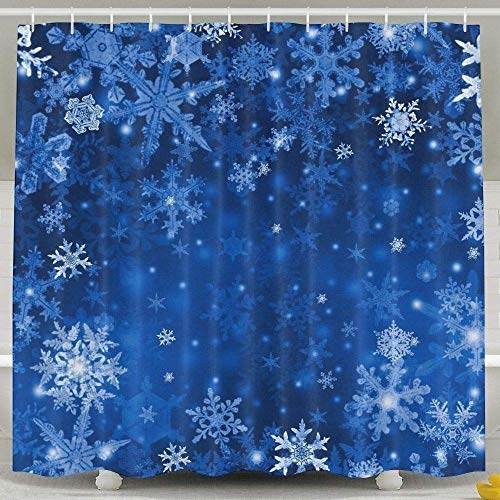 Sonernt Curtain Blue Snow Flakes Shower Curtain,Home Indoer Bathroom Decoration Sets with Hooks Shower Bath Curtain,Polyester Fabric Bathroom Shower Curtain