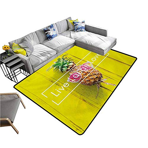 Long Kitchen Mat Bath Carpet Live Laugh Love,Tropical Pineapple Fruit with Sunglasses on Yellow Wood Board Joyful Print,Multicolor 64