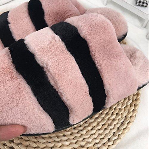 Pantofole di cotone spessa femmina autunno inverno bella piscina semplice antiscivolo, lussuosi di rimanere caldo pantofole uomini e ,42-43, grigio scuro 2251
