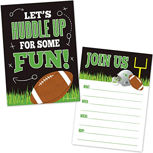 Football Birthday Party Invitations for Boys - (20 Count with Envelopes) - Football Party Supplies - Sport Invites for Kids - Fill in The Blank Announcements