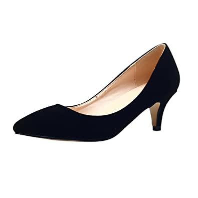 Amazon.com | Women's Faux Velvet Classic Low Kitten Heel Pointed ...