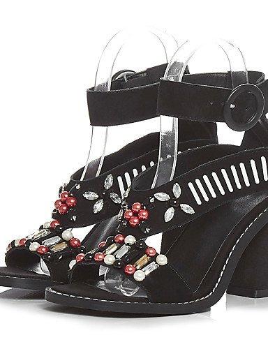 Schwarz Sandalen Outdoor Damenschuhe Heels Heels Toe Schwarz Abend Peep ShangYi Party Ferse Kleid H7FOqOX
