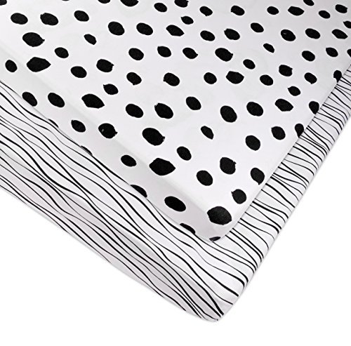 Pack n Play Playard Sheet Portable Crib Sheet Set 2 Pack Black and White Abstract Stripes and Dots by Elys /& Co