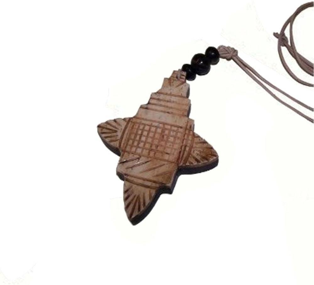 Collar cruz madera y cuerno étnico cadena colgante cordón de cuero