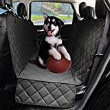Dog Seat Covers with Side Flap, Non Slip|Waterproof Pet Travel Hammock Car Seat Protector, Durable and Machine Washable Pet Seat Covers for Cars Trucks SUVs (Black)