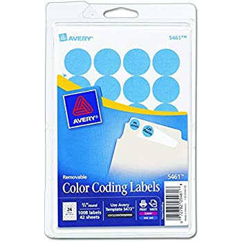 Avery Print Write Self Adhesive Removable Labels 075 Inch Diameter Light Blue