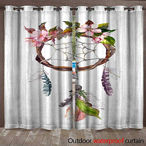(BlountDecor Outdoor Door Curtain Dream Catcher with Feathers and Flowers Watercolor Vintage Boho Style Waterproof CurtainW120 x L108)