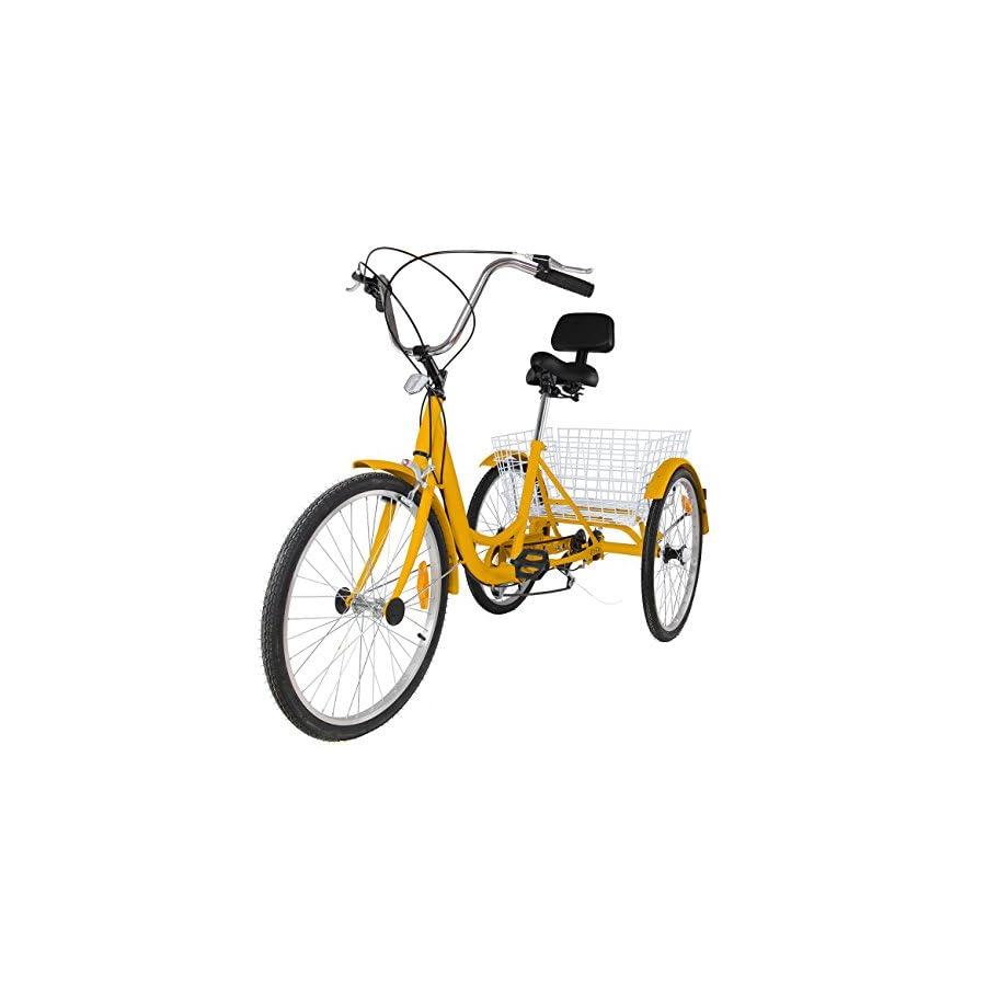 Mophorn Adult Tricycle 24 Inch 3-Wheel Bike 6/7 Speed Adult Trike ...