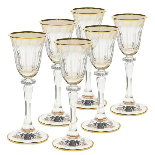 Rose's Glassware Fine Italian Decorative Glass Amber Collection Shotglass Set - 2 Ounce (Set of 6) by Rose's Glassware