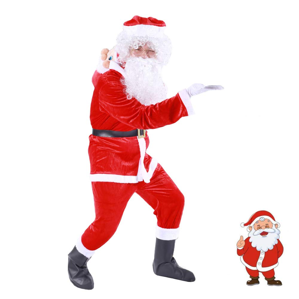 Weihnachtskostüm Kostüm Anzug Plüsch Vater Phantasie Kleidung Weihnachten Cosplay Requisiten Männer Mantel Hosen Bart Gürtel Hut Weihnachten Set,Height148-168CM-9sets