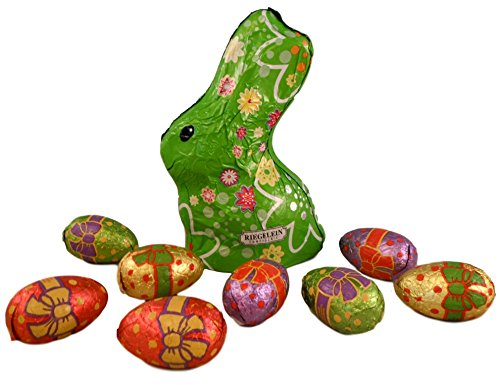 Riegelein Confiserie Flower Line Easter Bunny Bundle - 2 Items: Free Trade Chocolate Bunny and Eggs (Green Bunny)