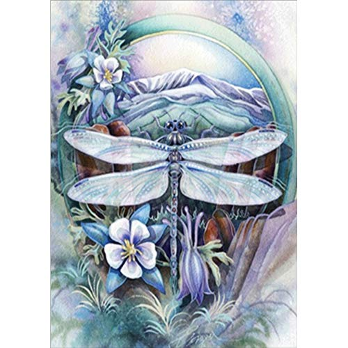 - 5D Diamond Painting by Number Kit, feilin Dragonfly Full Drill Rhinestone Embroidery Cross Stitch Supply Arts Craft Wall Decor Gift 40x30cm