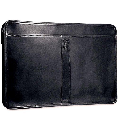 CrookhornDavis Men's American Bullhide Leather Underarm Portfolio Briefcase, Black - Underarm Leather Briefcase