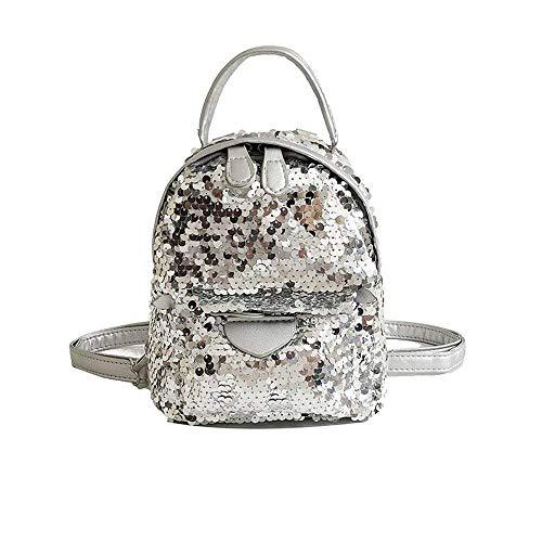 Square Sequin Eeayyygch Plata Bag Rosa color Rosado Tamaño Minimalista Elegante Backpack Small IFxaqd7x
