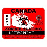 """RDW Canada Zombie Hunting Permit - Color Sticker - Decal - Die Cut - Size: 4.00"""" x 3.00"""""""