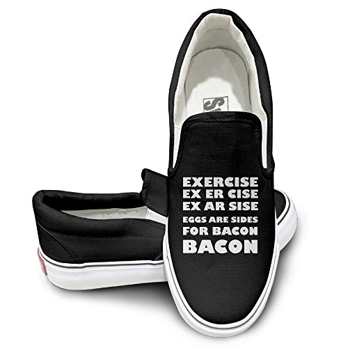 ZhiqianDF Exercise Eggs Are Sides For BACON Unisex Low-Top Casual Canvas Fashion Sneaker 39