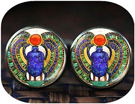 エジプトのスカラブカフスボタン、スカラブのカフスボタン、古代エジプトのカフスボタン、エジプトのカフスボタン、スカラベギフト、ガラスドームカフスボタン