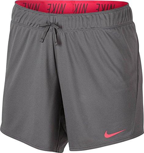 Nike Women 5 Workout Shorts (Medium, Cool Grey/Racer Pink)
