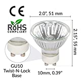 Simba Lighting Halogen GU10 50W Spotlight 120V MR16 with Glass Cover (10 Pack) Dimmable Flood for Accent, Recessed, Track Lighting, 30° Beam Angle, Twist-N-Lock Twistline Base, Warm White 2700K
