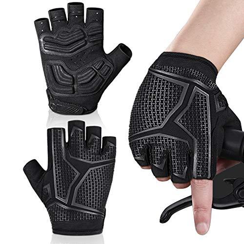 MEETEU Men's CyclingGloves, Anti-Slip Mountain Bike Glove Breathable Gel Pad Shockproof Biking Gloves for Road BicycleMTB Motorcycle