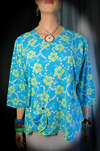 Hawaiian Ocean Breeze Flair Top, Blouse, Shirt, tunic - Fits XL - 2XL - Plus Size Stretch - Made in Hawaii - (Tropical Breeze Stripe)