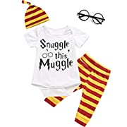 Angebebe 4Pcs Outfit Set Baby Boy Girls Snuggle This Muggle Romper with Classes (3-6 Months, White)