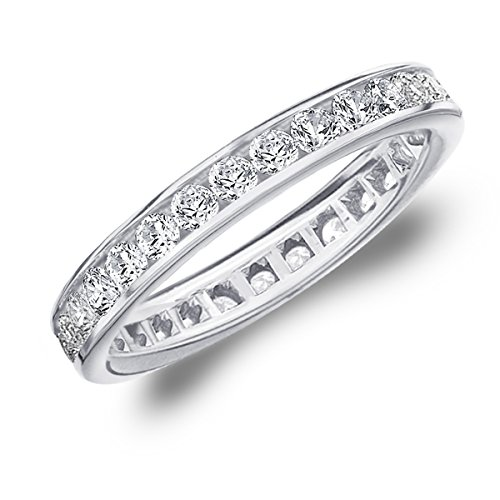 1 Carat Eternity Ring in 14K White Gold, Diamond Eternity Anniversary Wedding Band, Size 7.5